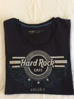 Hard Rock Osaka T-shirt Navy Blue with Silver print