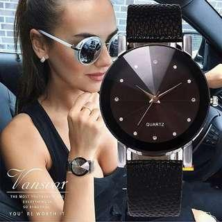Fashion Women Leather Strap Wrist Watch Casual Simple Quartz