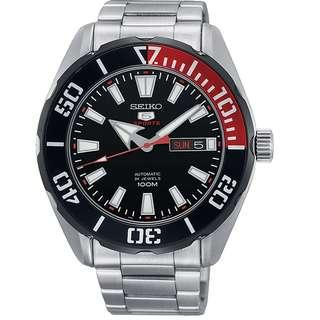 SEIKO / SRPC57K1  / SEIKO 5 / SPORTS / AUTOMATIC / MENS / 44 MM / 10ATM / STAINLESS STEEL STRAP /  BLACK RED BEZEL RING