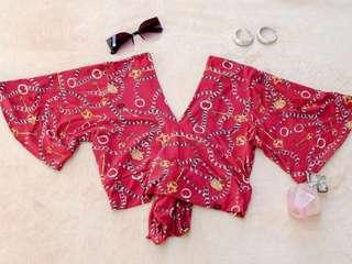 Red wrap chain top