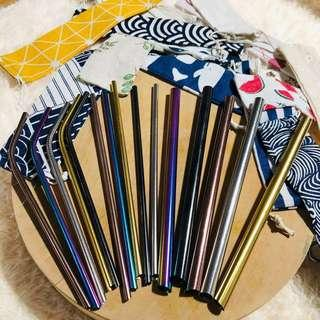 INSTOCKS Cheapest metal straw Sharp Slant Pointed ends Metal straw reusable drinking straw eco friendly metal straws set stainless steel straw