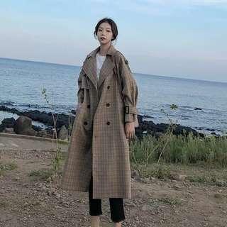 🚚 (全新)毛呢雙排扣復古格紋大衣