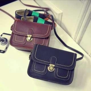 🚚 Vintage Leather Mini Pockets Shoulder Sling Zip Bag