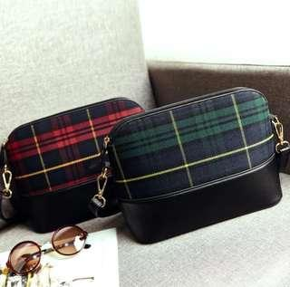 Color Canvas Checkered Sling Zip Bag