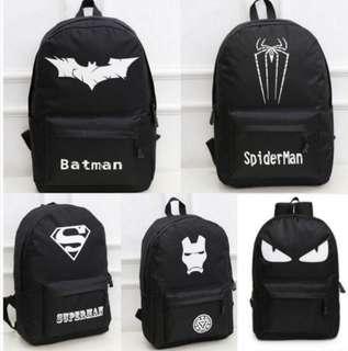 Superheroes Black Zip A4 Backpack Glows In The Dark Logo
