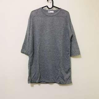 全新韓國KOREA韓製微透膚感寬鬆長版素面薄棉T