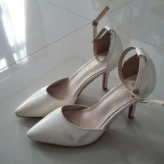 Pointed White High Heels