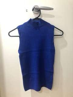 Electric blue knit sleeveless top