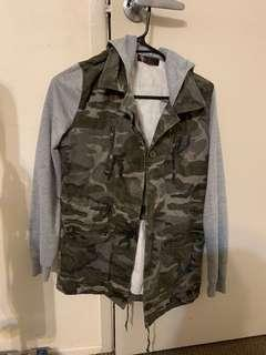 GREY ARMY JACKET (hooded)