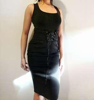 PTL Midi Bodycon Black Dress
