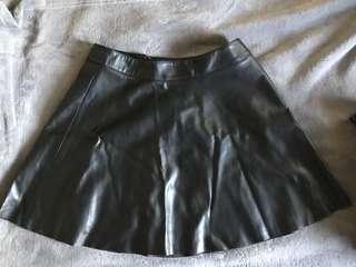 H&M Leather Skater Skirt