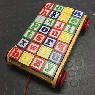 pull along wooden Alphabet blocks with wagon