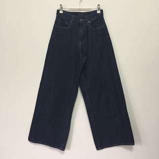 Uniqlo女裝高腰牛仔寬褲 兩色 22腰