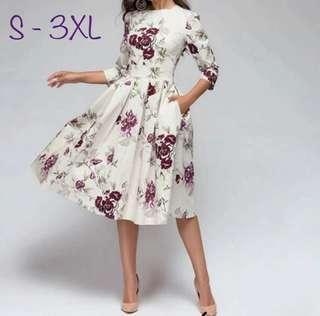 加加大碼女裝 收腰3分袖A字連身裙 Vintage Floral A-line Elegant One Piece Dress Plus Size