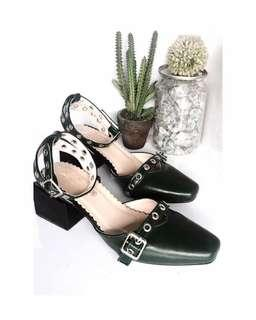 Nobu block heels in dark green