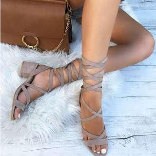 Billini Lace up block sandal brand new