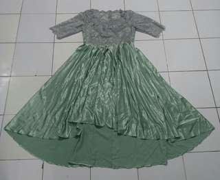 Gray Green Long Dress