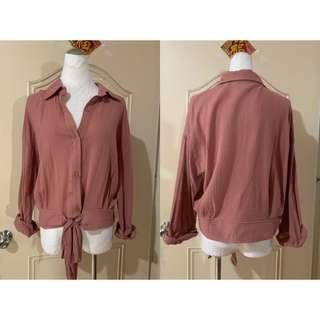 *Xiou's衣櫥*  麻料下綁帶襯衫