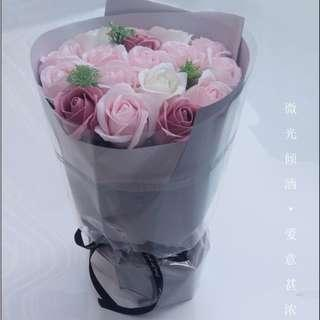 18 Soap Rose Flower Bouquet Gift 18朵香皂玫瑰花