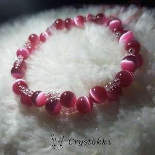 Handmade Double Threaded Pink Cat's Eye Crystal Bracelet