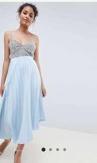 🚚 ASOS asymmetrical pleat Skirt in baby blue
