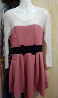 🚚 氣質蕾絲桔色洋裝