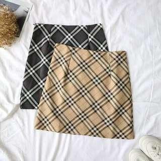 Burberry Style Checkered Plaid Skirt A Line Skirt Pencil Skirt
