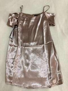 Champagne Cold Shoulder Dress