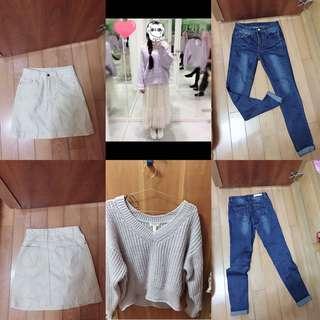 一組三件,h&m V領紫色毛衣 . 深藍窄管褲 . 奶油色 短裙