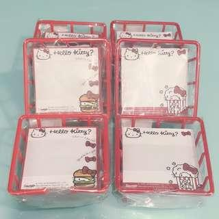 🚚 Sanrio Hello Kitty Note Pad In Red Basket 8.8cm x 8.8cm x 3.8cm 凯蒂猫便条本