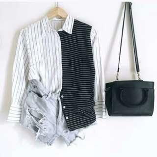 Kemeja Stripes Black&White