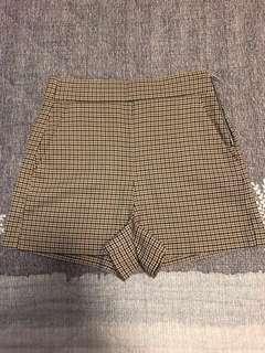 Zara checked high waist shorts