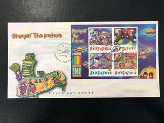 First Day Cover. Stamping' The Future. Singapore FDC 2000.