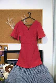 Red Short Sleeve One Piece