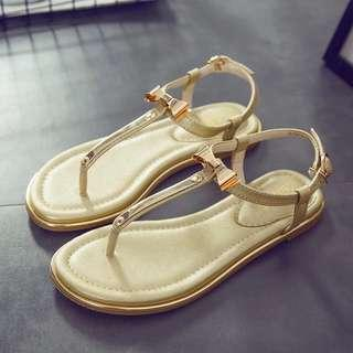 全新蝴蝶結平底夾腳露趾女裝涼鞋