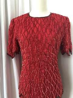 Rare Vintage Hand Embroidered Evening Gown