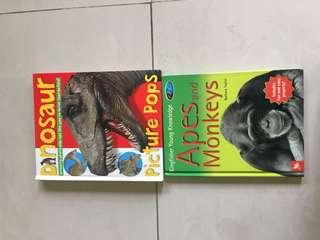 2 great children books dinosaur and apes