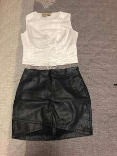 Manne QUEEN top and Bershka leather skirt