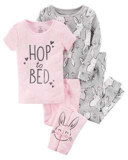Carter's Baby Girl 4-Piece Bunny Snug Fit Cotton PJs
