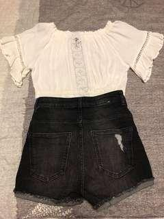 HM top and Cotton on denim short