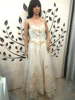 White Wedding Dress with Gold Leaf Design
