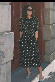 H&M polka dot midi dress with smocking, size XS