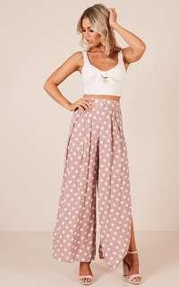 Portofino the Label wide-leg split pants in dusty pink with white polka dot print size 6, New with tags RRP $64.95.