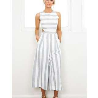 Grey and white strip jumpsuit featuring cut-outs, size XS
