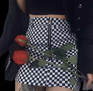 Grid Ring Zip Up Skirt