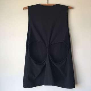 Nude Lucy Black Tank Top Cutout Back Size L