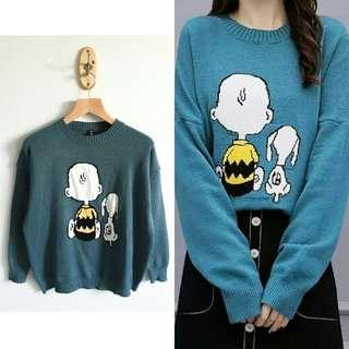 SNOOPY KNITTED KOREAN AOFT PULLOVER TOP