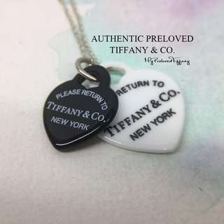 fe6c4bbb5 Authentic Tiffany & Co. Return To White Black Bone Double Hearts Necklace  Silver