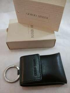 Giorgio Armani key ring with leather pouch