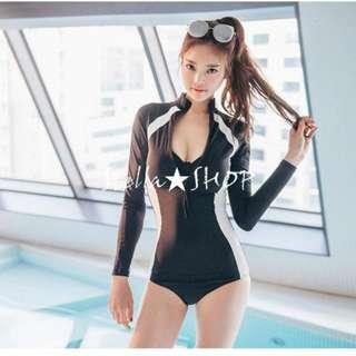 Stella✿SHOP S160黑色×白邊條前胸拉鍊長袖兩件式連身泳裝溫泉泳衣胸墊鋼圈比基尼水母衣 - 預購